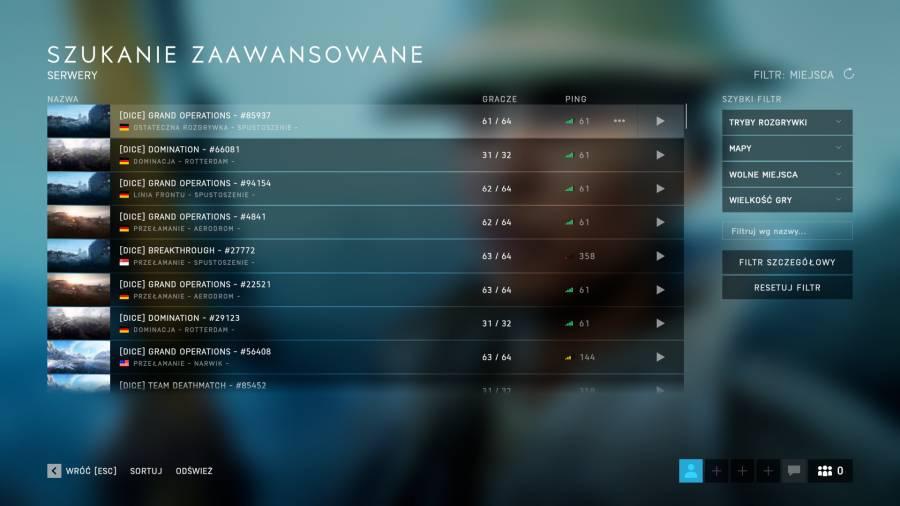 Battlefield V - Wyszukiwarka serwerów