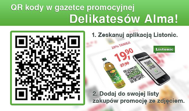 Kody QR w gazetce promocyjnej Almy