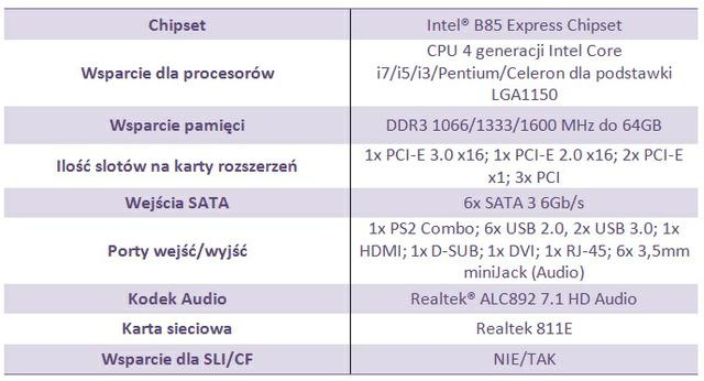 MSI B85-G43 spec