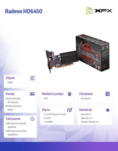 XFX Radeon HD6450 1GB DDR3 64-BIT Silent Low Profile (HDMI DVI VGA) BOX