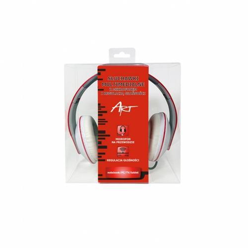 ART Słuchawki AP-59B z mikrofonem multimedialne czerwone