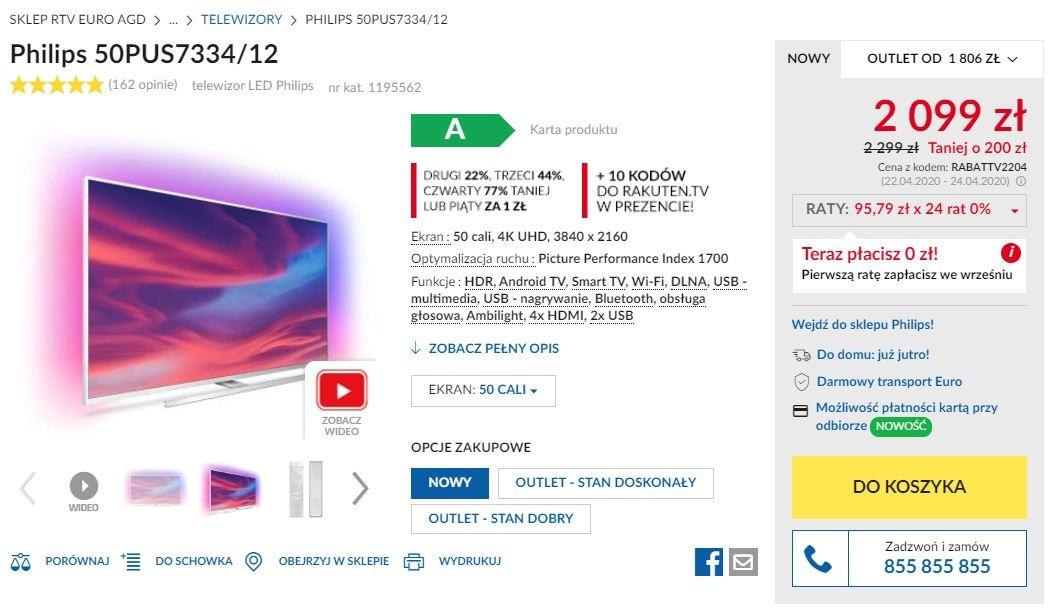 Zniżka na telewizory Philips w RTVEUROAGD w kwietniu