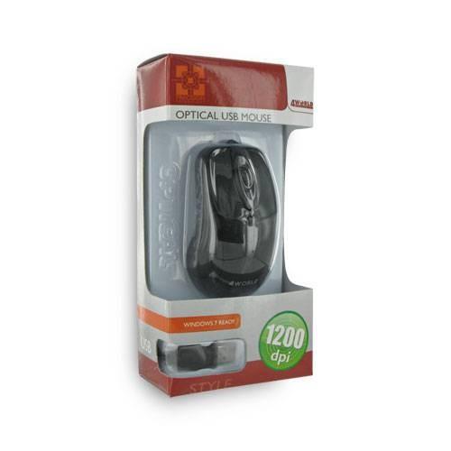 4World Mysz optyczna 'STYLE' USB 1200dpi czarna