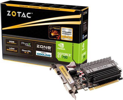 Zotac GeForce GT 730 ZONE Edition Low Profile 2GB DDR3 (64 bit) HDMI, DVI, D-Sub (ZT-71113-20L)