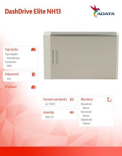 "A-Data DashDrive Elite NH13 1TB 2.5"" USB3.0 Srebrny"