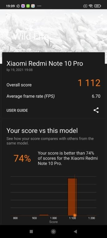 3D Mark (Wild Life) dla Redmi Note 10 Pro