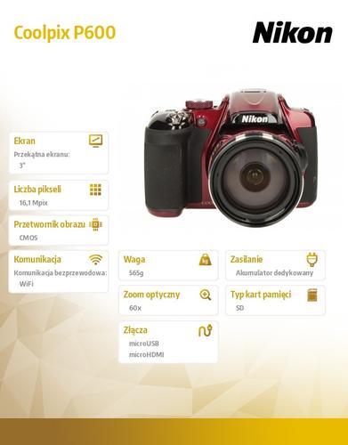 Nikon Coolpix P600 red 6MPx, 60xOZ, 1080p
