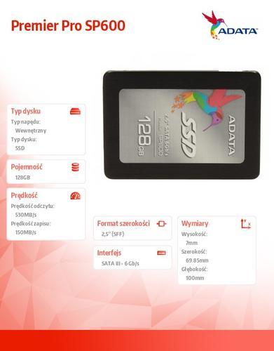 A-Data SSD Premier SP600 128GB 2.5'' SATA3 JMF661 500/140 MB/s