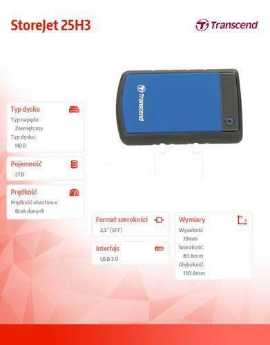 Transcend StoreJet 2.5' H3B 2TB USB3.0 BLUE