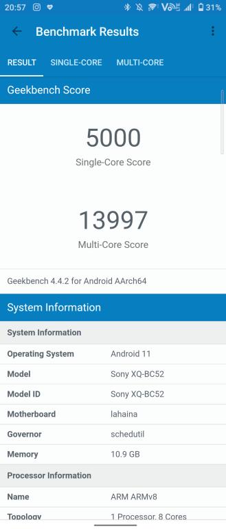 Sony Xperia 1 III i wynik z Geekbench 3