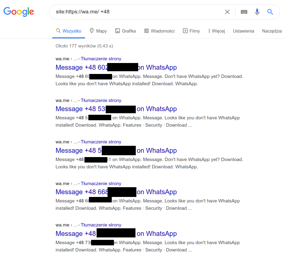 Indeksowane przez Google numery uzytkowników WhatsApp. Źródło: Niebezpiczenik