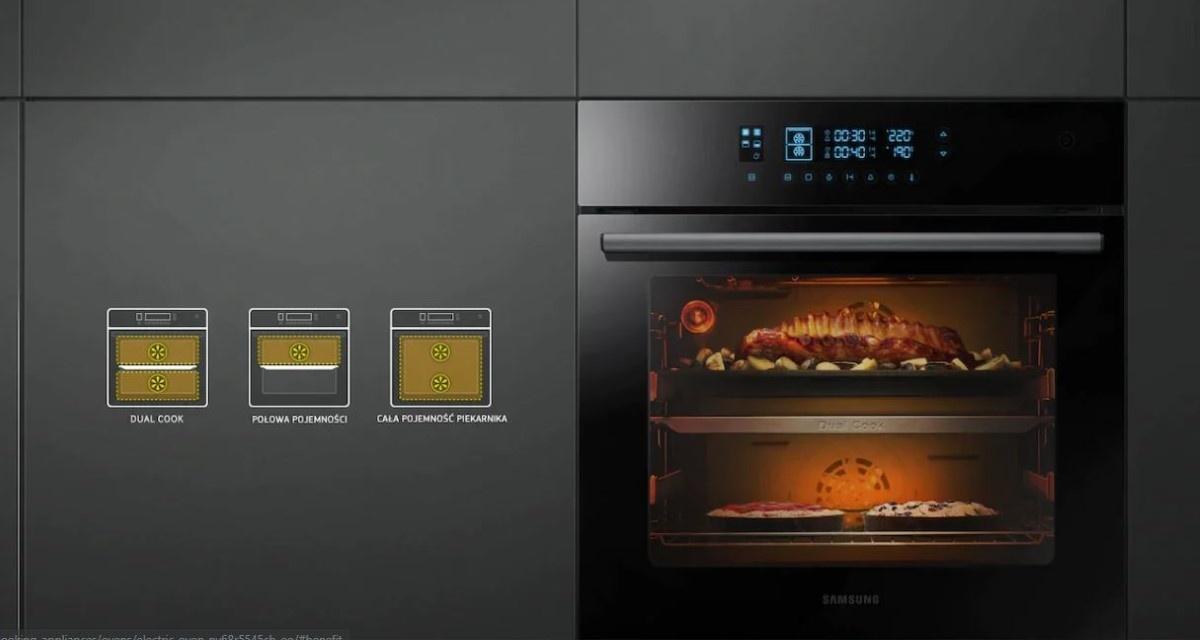 Pieczenie na dwóch poziomach Samsung Dual Cook NV68R5545CB