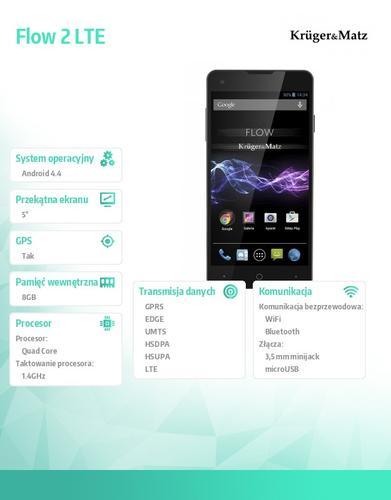 "Kruger & Matz Smartfon FLOW 2 5"" Android 4.4 LTE"