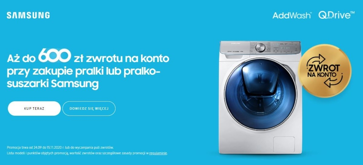 Nawet do 600 złotych zwrotu na pralkach Samsunga