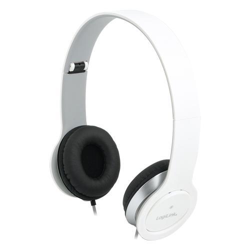 LogiLink Stylowe słuchawki stereo z mikrofonem, białe