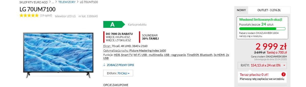 LG 70UM7100 należy wejść do sklepu euro.com.pl