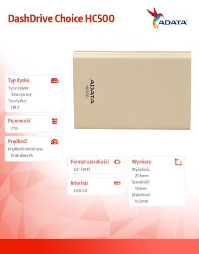 A-Data DashDrive Choice HC500 2TB 2.5'' USB3.0 Gold