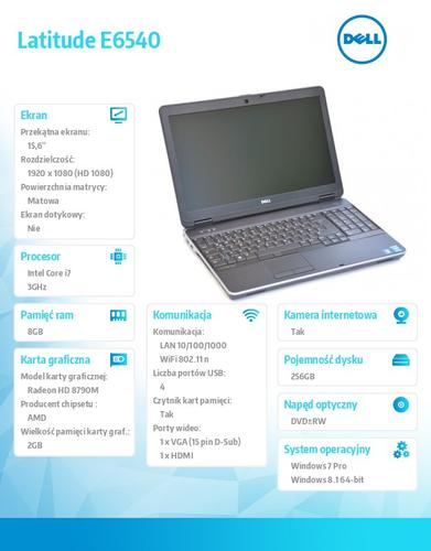 Dell Latitude E6540 Win78.1Pro(64-bit win8, nosnik) i7-4610M/256GB/8GB/DVD+/-RW/BT 4.0/Office 2013 Trial/AMD Radeon HD8790M/KB-Backlit/15.6FHD/3YNBD