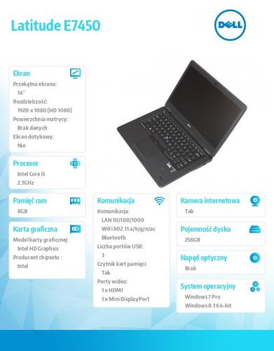 "Dell Latitude E7450 Win78.1Pro(64-bit win8, nosnik) i5-5300U/256GB/8GB/BT 4.0/4-cell/Office 2013 Trial/UMA/KB-Backlit/14""/3Y NBD"
