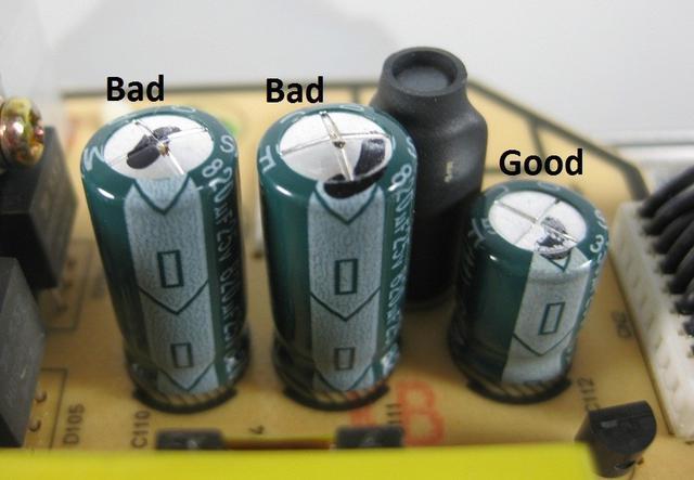 używany zasilacz z Allegro - kondensatory