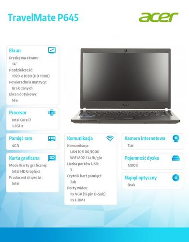 "Acer TravelMate P645-M 14"" FHD/i7-4500U/4GB/128GB SSD/Intel HD/Win7P/Win8.1P"