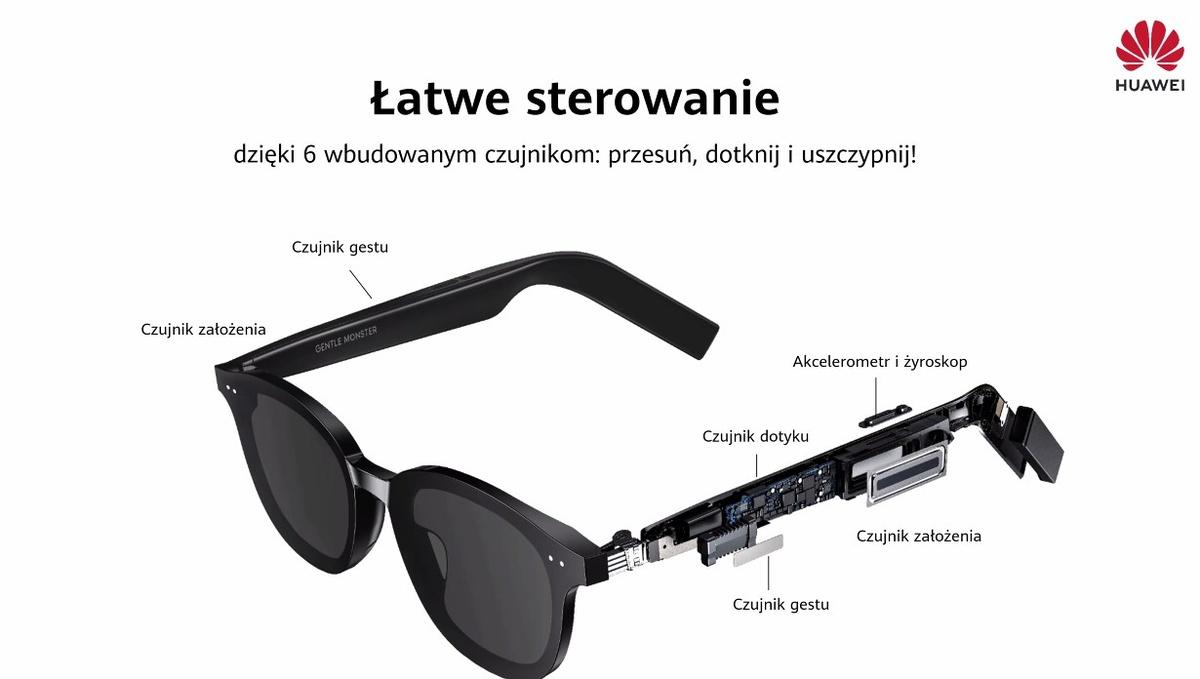 Okulary Huawei posiadają łatwe sterowanie