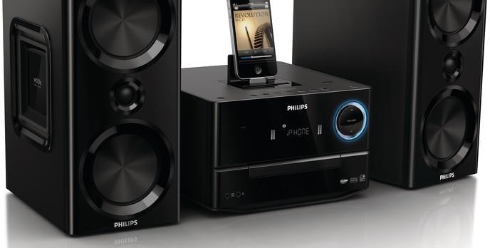 Delektuj się przestrzennym, głębokim dźwiękiem płynącym z nowej, eleganckiej mikrowieży Philips