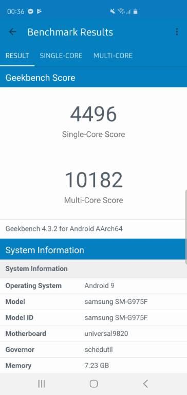 Samsung Galaxy S10+ geekbench