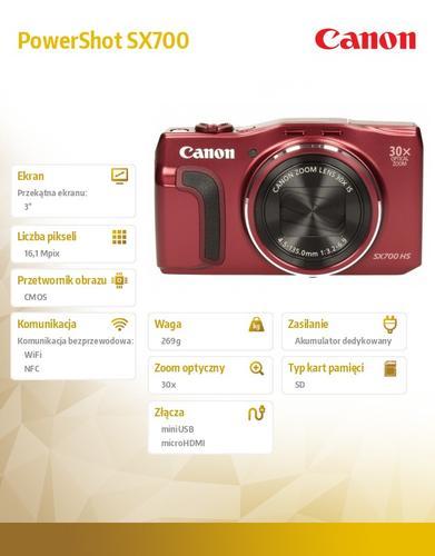 Canon PowerShot SX700 RED NFC WIFI 9339B011AA