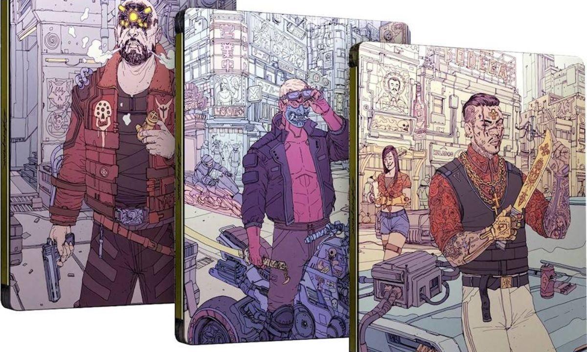 Grafika przedstawiająca steelbooki pre-orderowej wersji Cyberpunka 2077