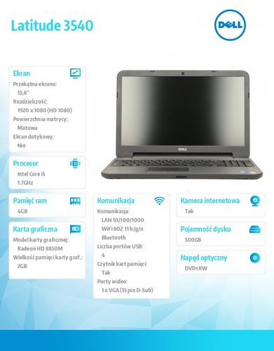 "Dell Latitude 3540 Ubuntu i5-4210U/500+8GB SSHD/4GB/HD 8850M/15""FHD/6Cell/3YNB"