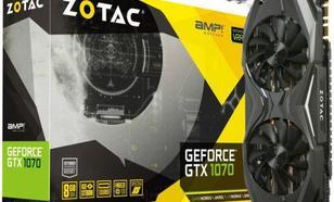 Zotac GeForce GTX1070 AMP Edition 8GB GDDR5 (256 bit) DVI, HDMI, 3x DP, BOX (ZT-P10700C-10P)