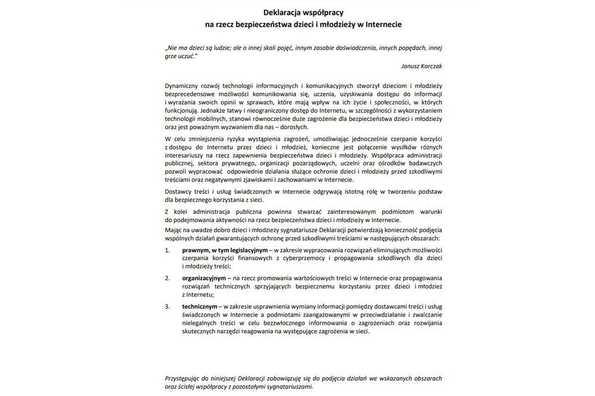 deklaracja współpracy na rzecz bezpieczeństwa dzieci i młodzieży w internecie