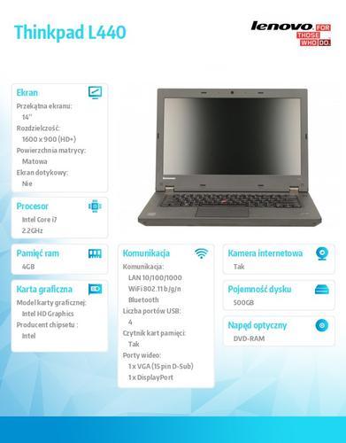 """Lenovo Thinkpad L440 20ASA182PB Win7Pro&Win8.1Pro64-bit i7-4702MQ/4GB/500GB/Intel HD/DVD Rambo/6c/14.0"""" HD+ AG,WWAN Ready,Black/1Yr CI"""