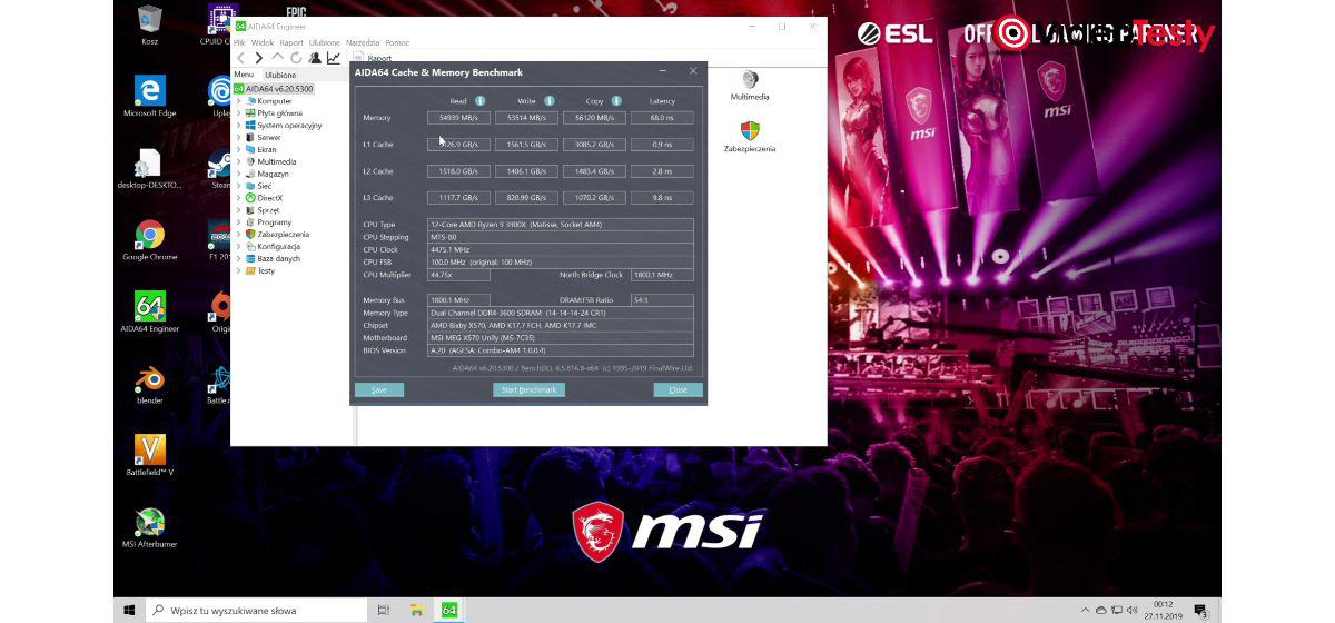 MSI MEG X570 Unify - test RAM