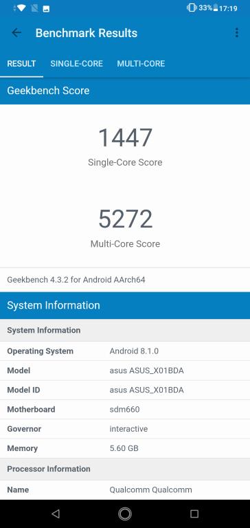 Geekbench Asus Zenfone Max Pro (M2)