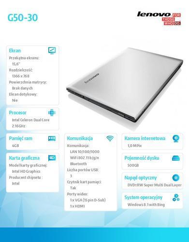 """Lenovo G50-30 80G001UXPB Win8.1 Bing N2840/4GB/500GB/15.6"""""""