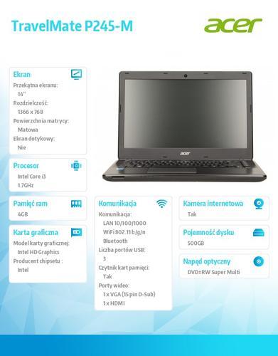 "Acer TravelMate P245-M-34014G50MNKK 14""/i3-4010/4GB/500GB/Intel HD/DVD SM DL/BGN 1x11 2SD only/4c/2,1kg/W7Pro (W8.1Pro) ED"