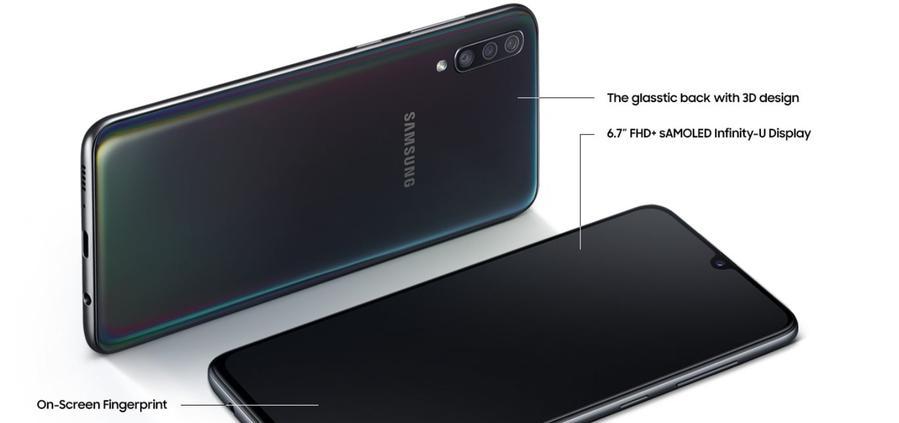 Galaxy A70 ma czytnik pod ekranem, ale ten działa przeciętnie