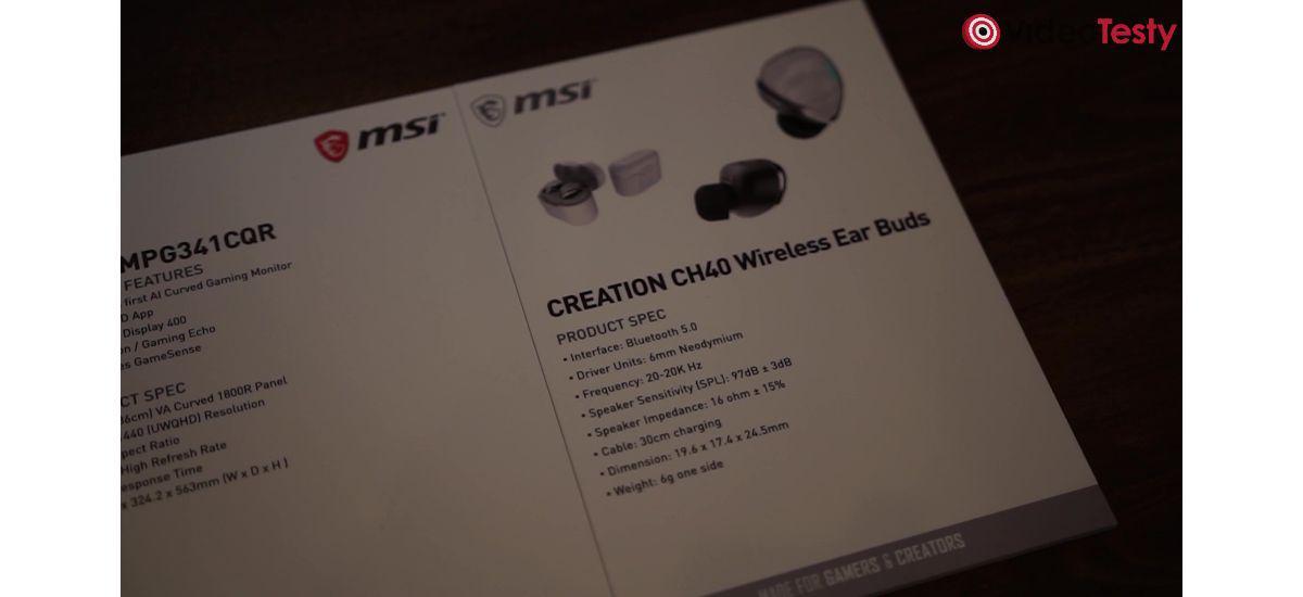 MSI CREATION CH40 WIRELESS EAR BUDS - Specyfikacja
