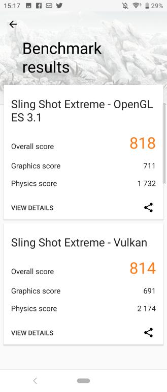 Rezultat Sony Xperii 10 w 3D Mark