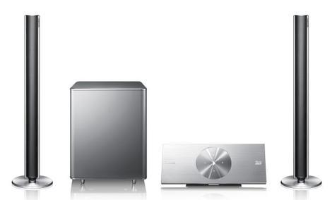 Stylowy zestaw kina domowego firmy Samsung z odtwarzaczem Blu-ray 3D