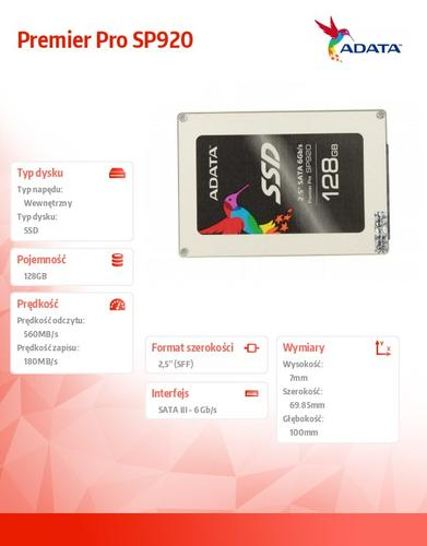 A-Data SSD Premier Pro SP920 128GB 2.5'' SATA3 Marvell 88S9189 560/180 MB/s
