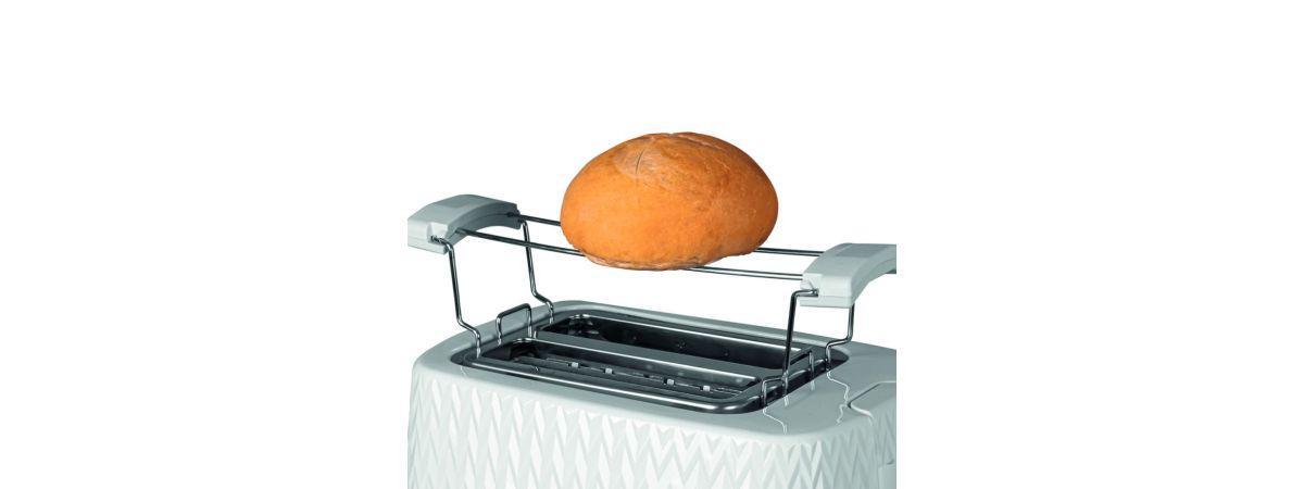 biały toster z rusztem i z bułką