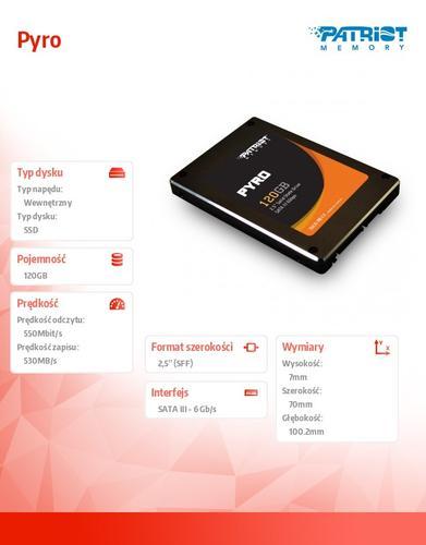 Patriot SSD 120GB 2,5'' Pyro 550/530 MB/s SATA3 TRIM 85k IOPs
