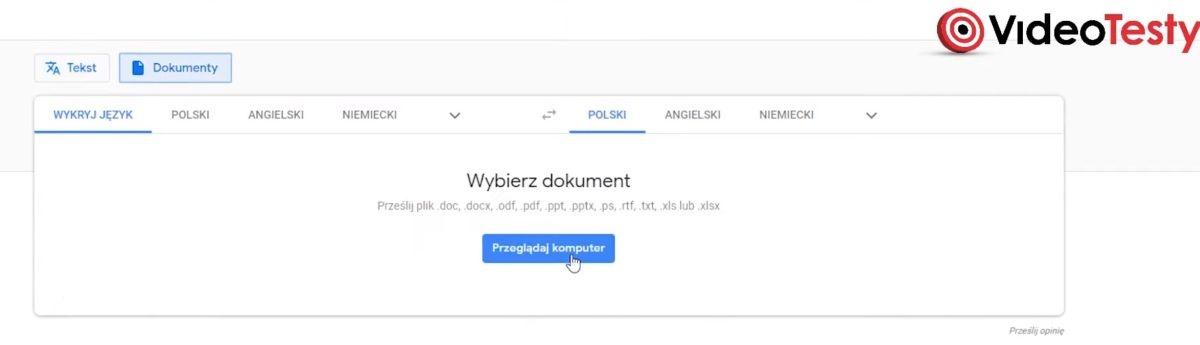 funkcja tłumaczenia dokumentów