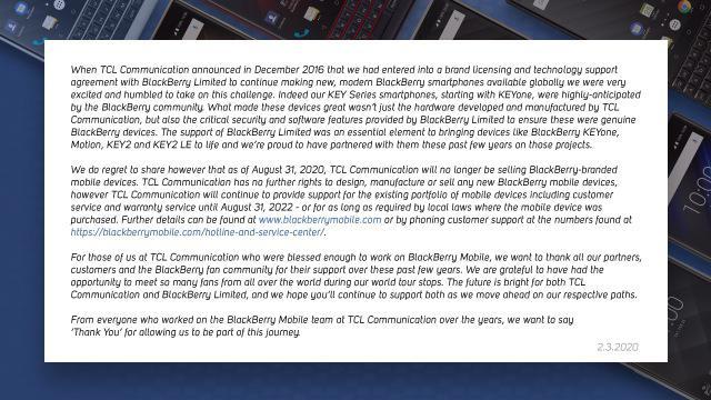 Oświadczenie Blackberry pojawiło się w internecie nagle