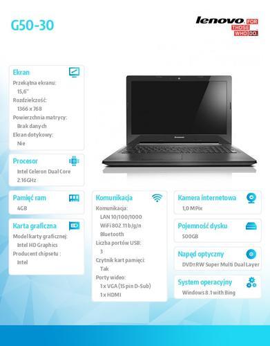 """Lenovo G50-30 80G001UWPB Win8.1 Bing N2840/4GB/500GB/15.6"""""""