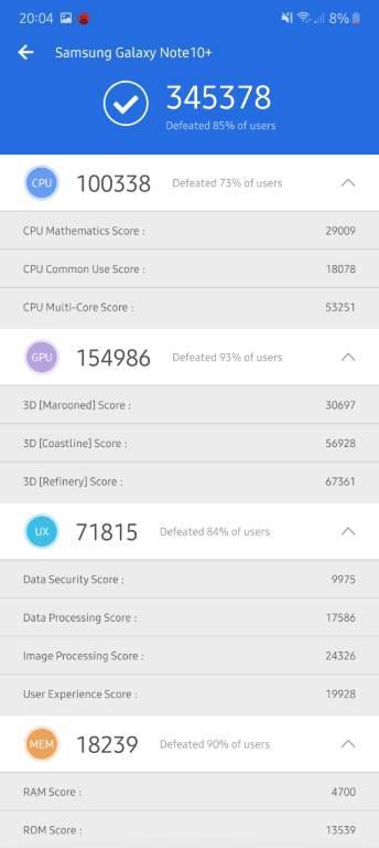 Wynik Samsunga Galaxy Note 10+ w Antutu Benchmark