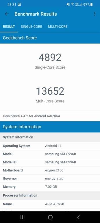 Wynik Samsunga Galaxy S21+ w Geekbench 4